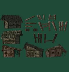 swampabandoned wooden huts wooden bridge parts vector image