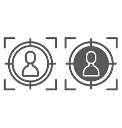 target line and glyph icon focus and targeting vector image