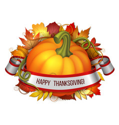 thanksgiving banner ribbon with happy vector image