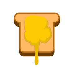 Toast with honey icon flat style vector