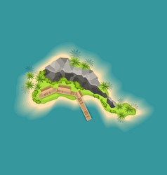Top view island with volcano view from a height vector