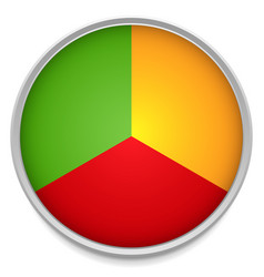 Tricolor pie chart icon with one third parts vector