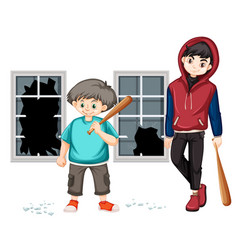 trouble young boys hit the window vector image