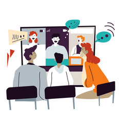 videoconference or meeting with partners online vector image