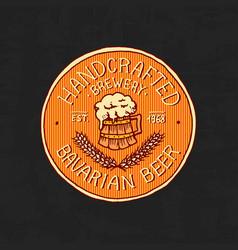 vintage beer label badge strong alcohol logo vector image