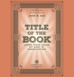 Vintage retro book cover design vector