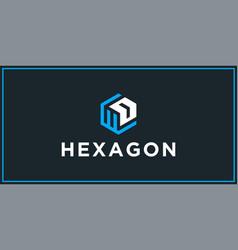 Wd hexagon logo design inspiration vector