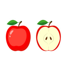 whole red apple and half apple slice vector image