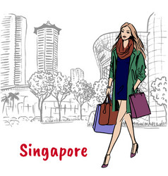 woman and man with shopping bags on orchard road vector image