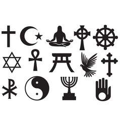 world religions symbols set vector image