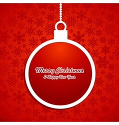 Xmas white bauble over snowflake pattern vector image