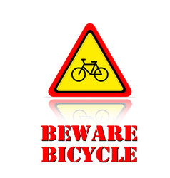 yellow warning beware bicycle icon background vect vector image