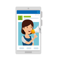 Young woman in smartphone and megaphone vector