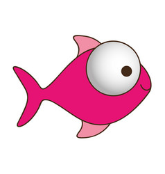 color silhouette of fish with big eye and small vector image vector image
