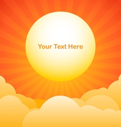 Evening sky background with sun text space vector image