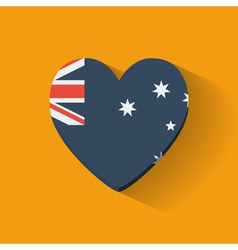 Heart-shaped icon with flag of Australia vector image