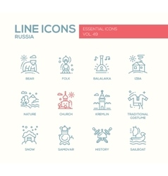 Russian symbols - flat design line icons set vector image vector image