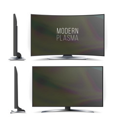 screen lcd plasma television set curved vector image vector image