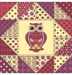 Seamless patchwork owl pattern 2 vector image vector image