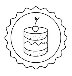 silhouette circular border with dessert with cream vector image