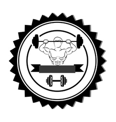silhouette stamp border with muscle man lifting a vector image vector image