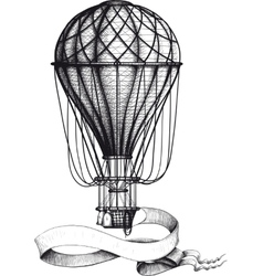 Vintage hot air balloon with banner vector image vector image
