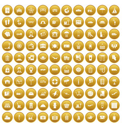 100 luggage icons set gold vector