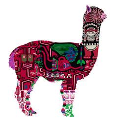 alpaca with peruvian pattern vector image vector image