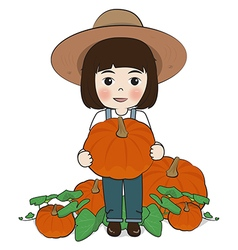planter and pumpkin vector image vector image