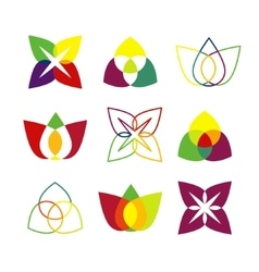 Set of bright geometrical logos vector image vector image