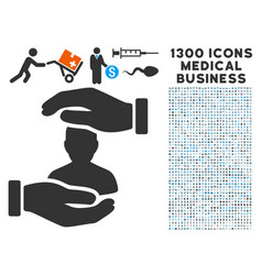 user care hands icon with 1300 medical business vector image