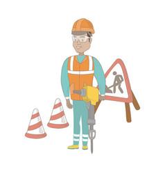 young hispanic builder using pneumatic hammer vector image vector image