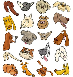 Cartoon funny dogs heads big set vector image vector image