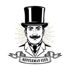 gentleman club man head in vintage hat design vector image