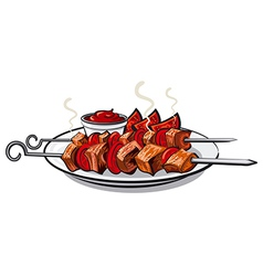 grilled kebab vector image vector image