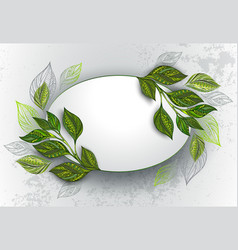 Oval banner with tea leaves vector