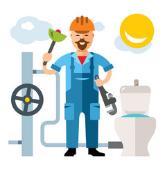 plumber flat style colorful cartoon vector image vector image