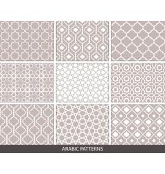 Set of nine Arabic patterns vector image vector image