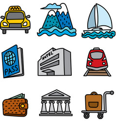travel and resort icons vector image vector image