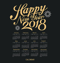 calendar happy new year 2018 black and gold vector image vector image