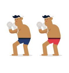thai character boxing rope standing flat thai vector image vector image