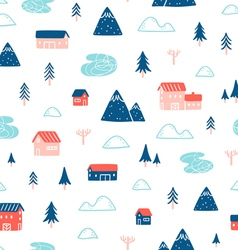 Winter town landscape pattern vector image