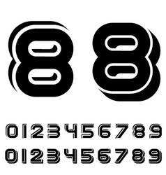 3D black simple numbers font vector image