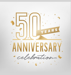 50th anniversary celebration golden template vector image