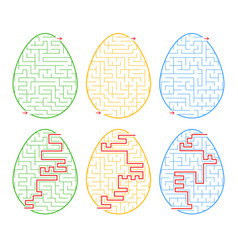 A set of labyrinths in the form of eggs a stroke vector