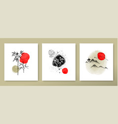 Abstract red ink chinese art card collection vector