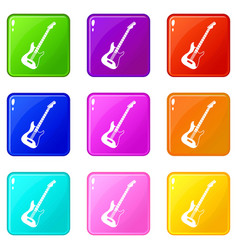 Acoustic guitar icons 9 set vector