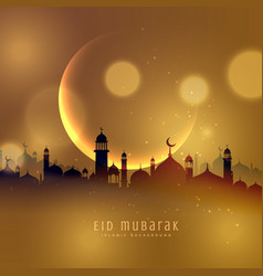 Awesome eid festival background in golden theme vector