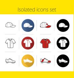 baseball players uniform icons set vector image