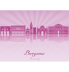 Bergamo skyline in purple radiant orchid vector image